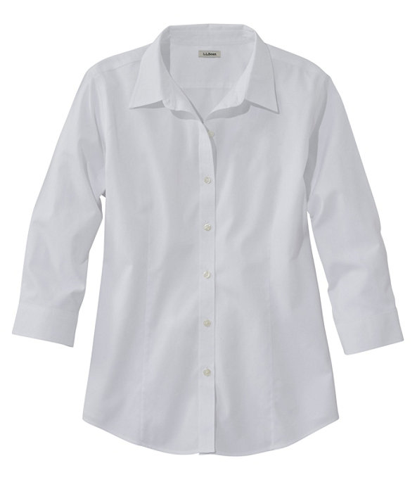 Women's Pinpoint Oxford Cloth Shirt, Three-Quarter Sleeve, White, large image number 0