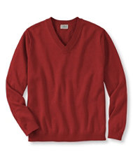 Lightweight Double L Cotton Sweater, V-Neck