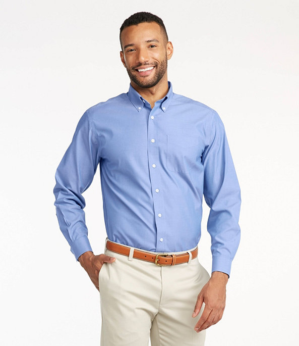 Wrinkle-Resistant Pinpoint Oxford Cloth Shirt, Neck Sizes, , largeimage number 1