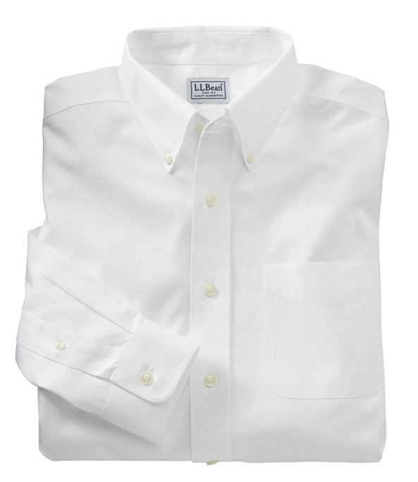 Wrinkle-Resistant Pinpoint Oxford Cloth Shirt, Neck Sizes, White, large image number 0