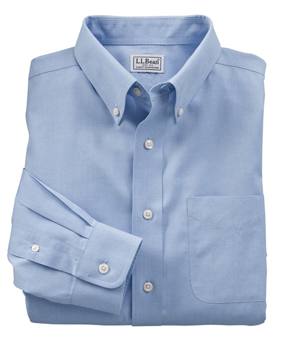 Wrinkle-Resistant Pinpoint Oxford Cloth Shirt, Neck Sizes, Blue, large image number 0