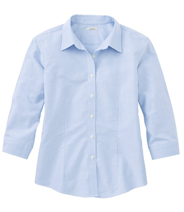 Women's Classic Oxford Cloth Shirt, Three-Quarter Sleeve, Blue, largeimage number 0