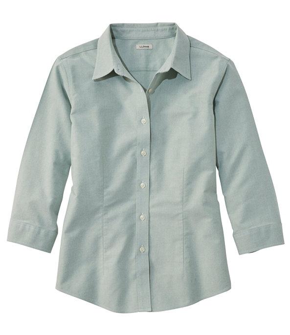 Women's Classic Oxford Cloth Shirt, Three-Quarter Sleeve, Dark Elm, large image number 0