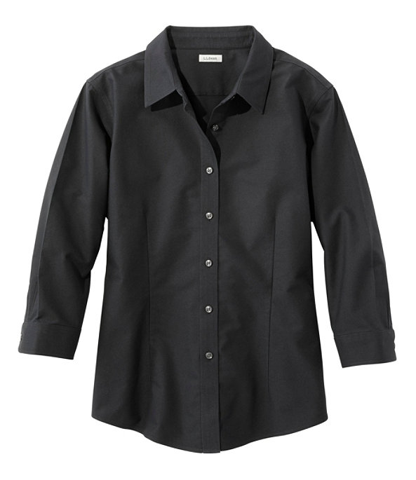 Women's Classic Oxford Cloth Shirt, Three-Quarter Sleeve, Ink Black, largeimage number 0
