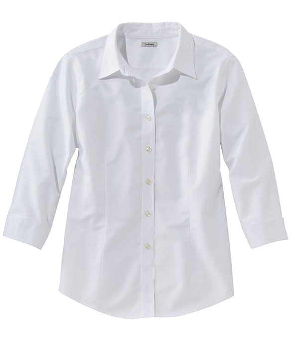 Women's Classic Oxford Cloth Shirt, Three-Quarter Sleeve, White, large image number 0