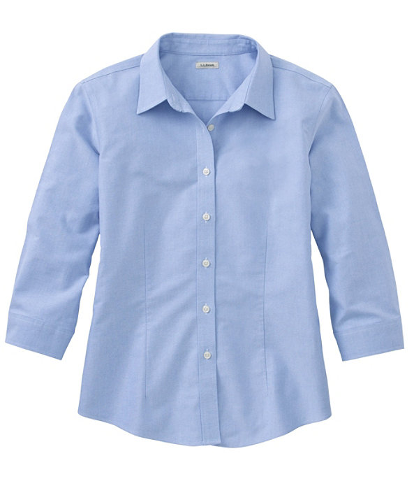 Women's Classic Oxford Cloth Shirt, Three-Quarter Sleeve, French Blue, large image number 0