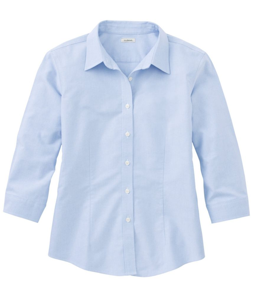 Women's Wrinkle-Free Classic Oxford Shirt Three-Quarter Sleeve