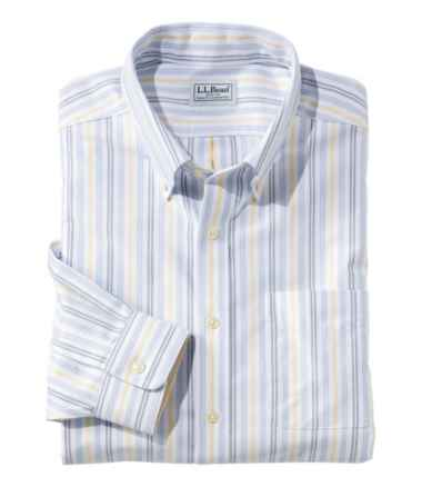 Men's Wrinkle-Free Classic Oxford Cloth Shirt, Slightly Fitted University Stripe