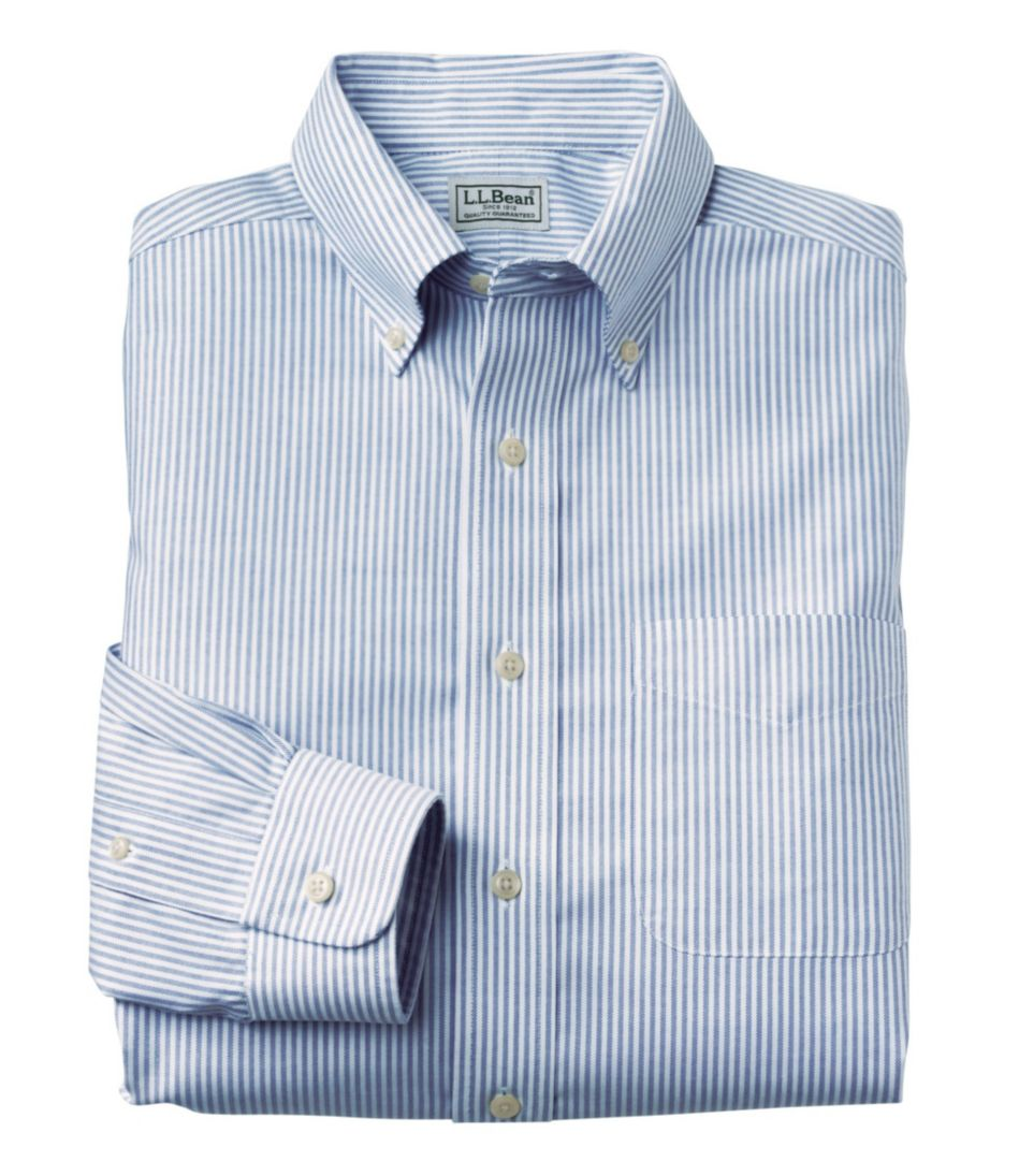 Wrinkle-Free Classic Oxford Cloth Shirt, Slightly Fitted University Stripe