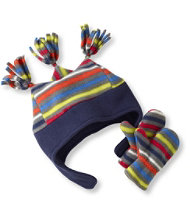 Toddlers' Triple-Peak Fleece Hat and Mitten Set