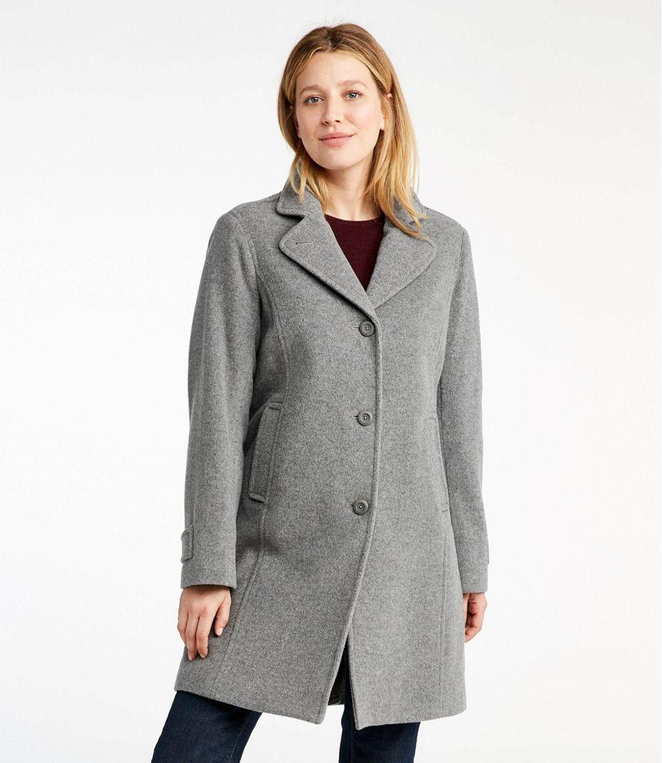 Women's Classic Lambswool Polo Coat, Three-Quarter