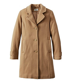 Women's Classic Lambswool Polo Coat, Three-Quarter
