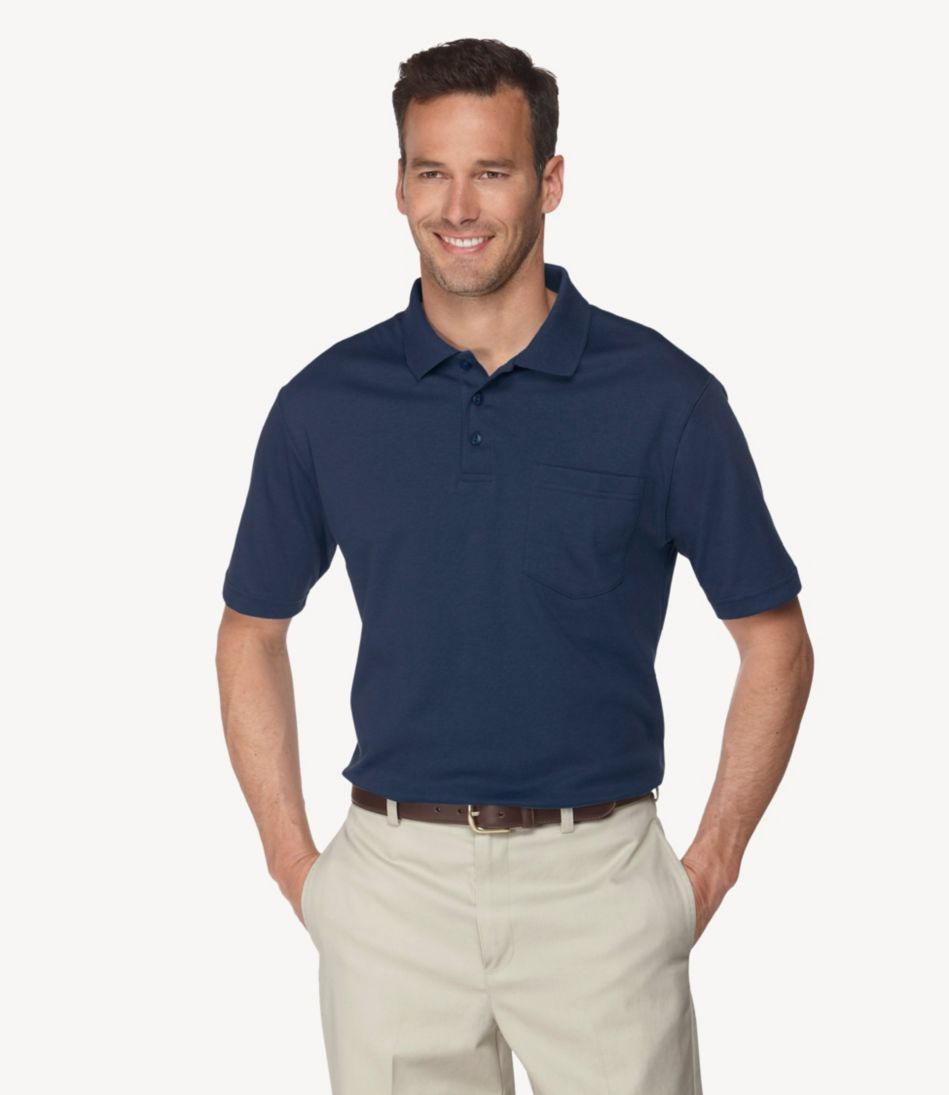 Pima Cotton Polo, Traditional Fit Hemmed Sleeve with Pocket