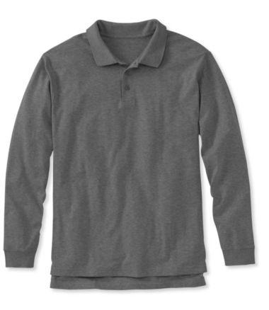 Pima Cotton Polo, Traditional Fit Long-Sleeve