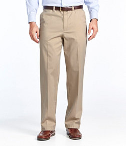 Men's Wrinkle-Free Dress Chinos, Natural Fit Hidden Comfort Plain Front