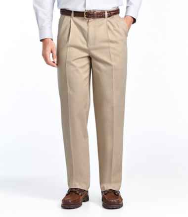 Men's Wrinkle-Free Dress Chinos, Natural Fit Hidden Comfort Pleated