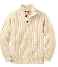Heritage Sweater, Irish Fisherman's Button-Mock