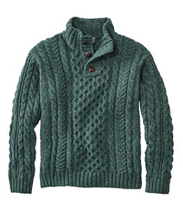 Men's Heritage Sweater, Irish Fisherman's Button-Mock