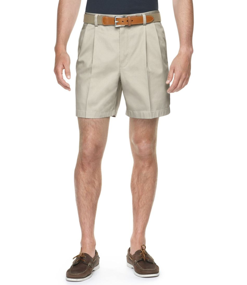 "Wrinkle-Free Double L® Chino Shorts, Classic Fit Pleated 6"" Inseam"