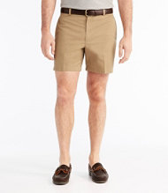 Wrinkle-Free Double L Chino Shorts, Classic Fit Plain Front 6''