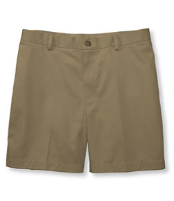 Wrinkle-Free Double L Chino Shorts, Classic Fit Plain Front 6'' Inseam