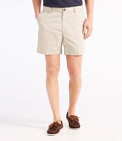 "Men's Wrinkle-Free Double L Chino Shorts, Hidden Comfort Waist Plain Front 6"" Inseam"
