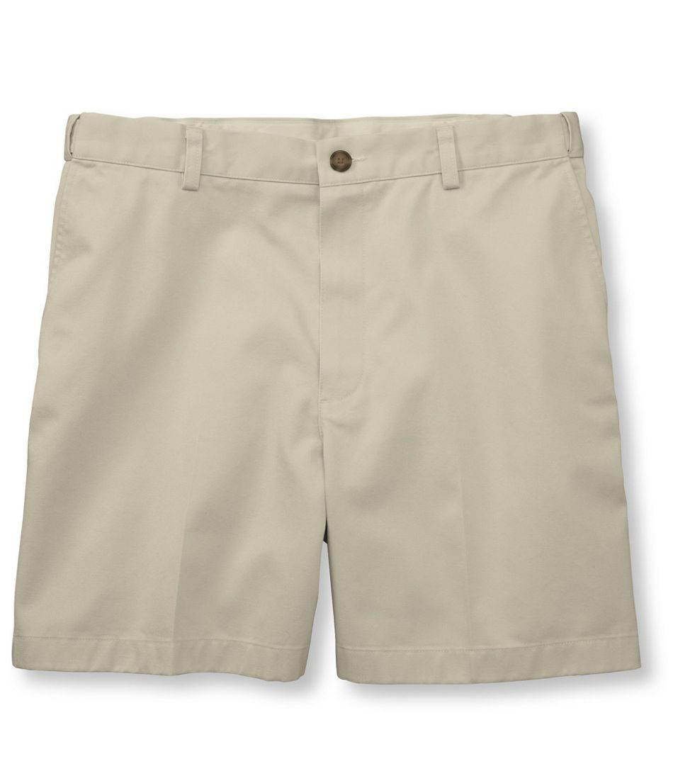 "Men's Wrinkle-Free Double L Chino Shorts, Hidden Comfort Waist Plain Front 6"" Inseam"