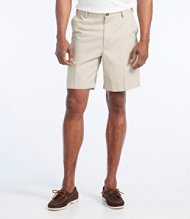"Wrinkle-Free Double L Chino Shorts, Hidden Comfort Waist Plain Front 8"" Inseam"