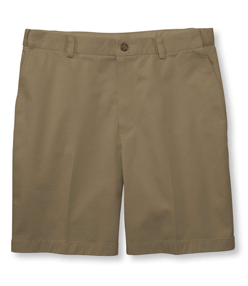 "Men's Wrinkle-Free Double L® Chino Shorts, Hidden Comfort Waist Plain Front 8"" Inseam"