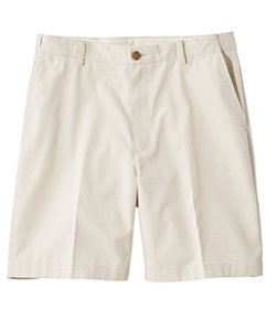 "Men's Wrinkle-Free Double L Chino Shorts, Hidden Comfort Waist Plain Front 8"" Inseam"