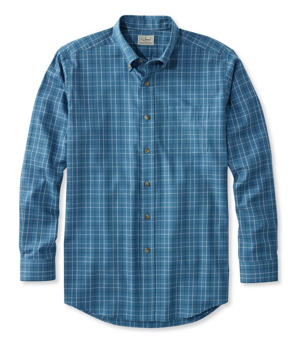 Wrinkle-Free Twill Sport Shirt, Traditional Fit Windowpane