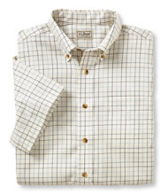 Men's Wrinkle-Free Twill Sport Shirt, Traditional Fit Short-Sleeve Windowpane