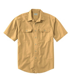Men's Sunwashed Canvas Shirt, Traditional Fit Short-Sleeve