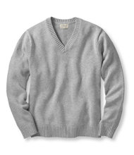 Double L Cotton Sweater, V-Neck