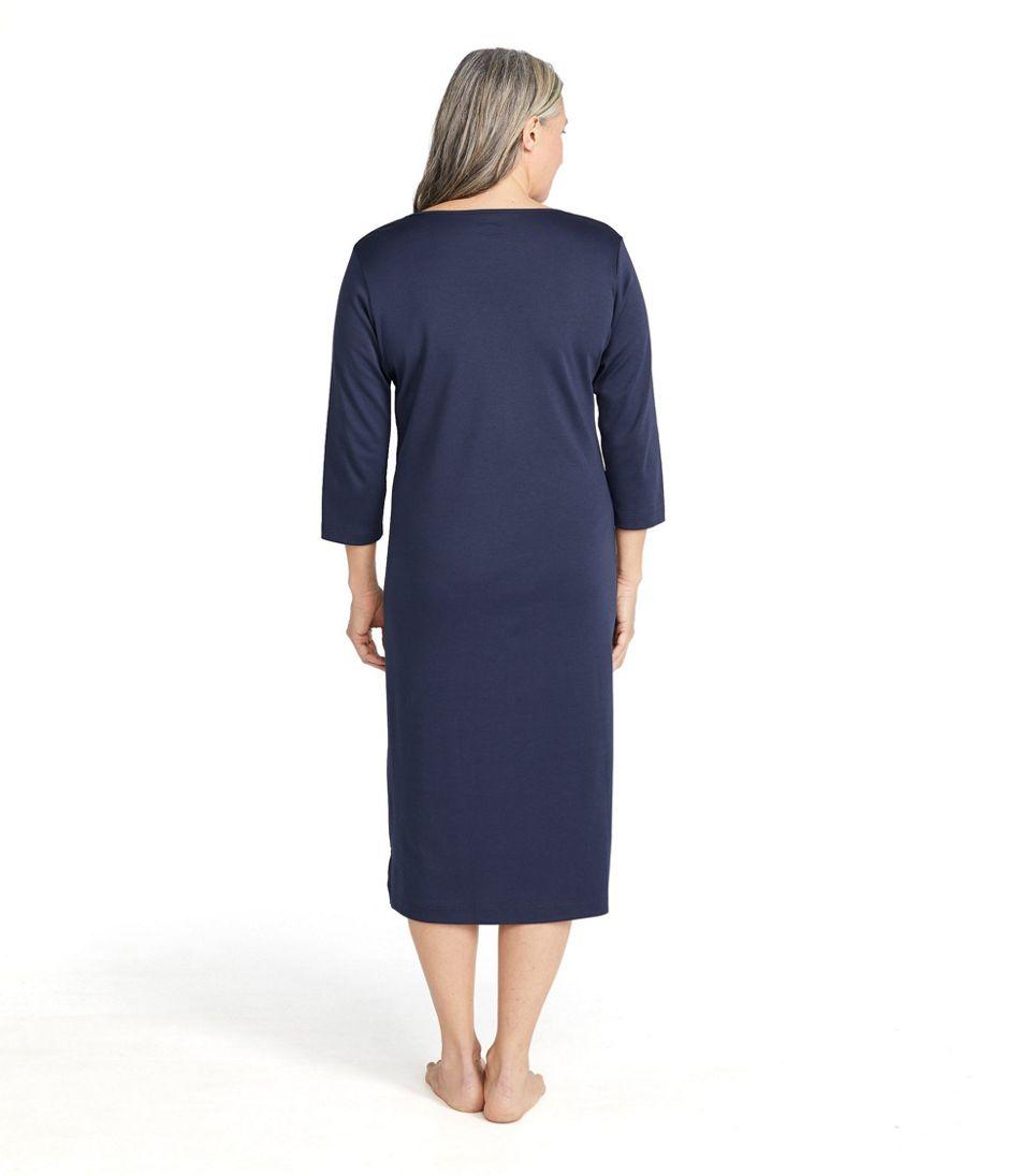 Women's Supima Cotton Nightgown, V-Neck Three-Quarter-Sleeve