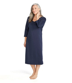 Women's Supima Cotton Nightgown, V-Neck Three-Quarter-Sleeve