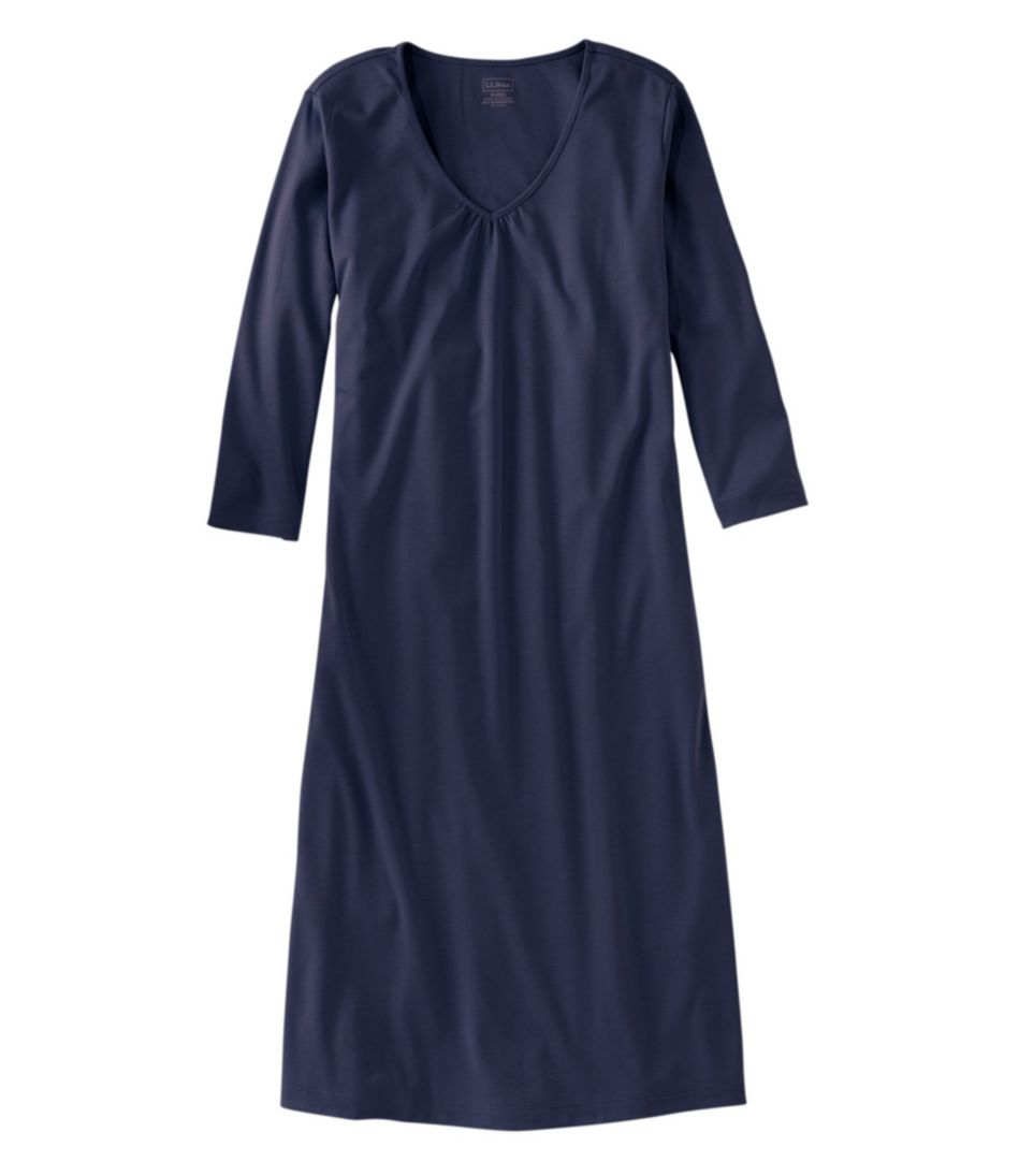 Supima Cotton Nightgown, V-Neck Three-Quarter-Sleeve