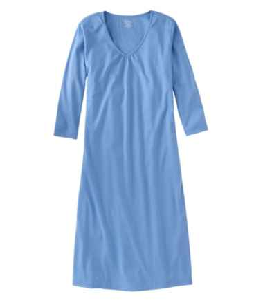 Supima Cotton Nightgown, V-Neck Three-Quarter-Sleeve