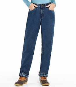 Women's Double L Jeans, Relaxed Comfort Waist Flannel-Lined