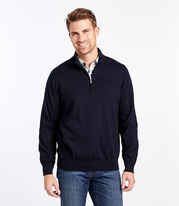 Men's Cotton Cashmere Quarter-Zip Sweater, , large image number 1