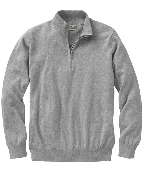 Men's Cotton Cashmere Quarter-Zip Sweater, Light Gray Heather, large image number 0
