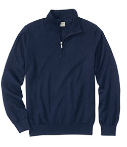 Men's Cotton/Cashmere Sweater, Quarter-Zip