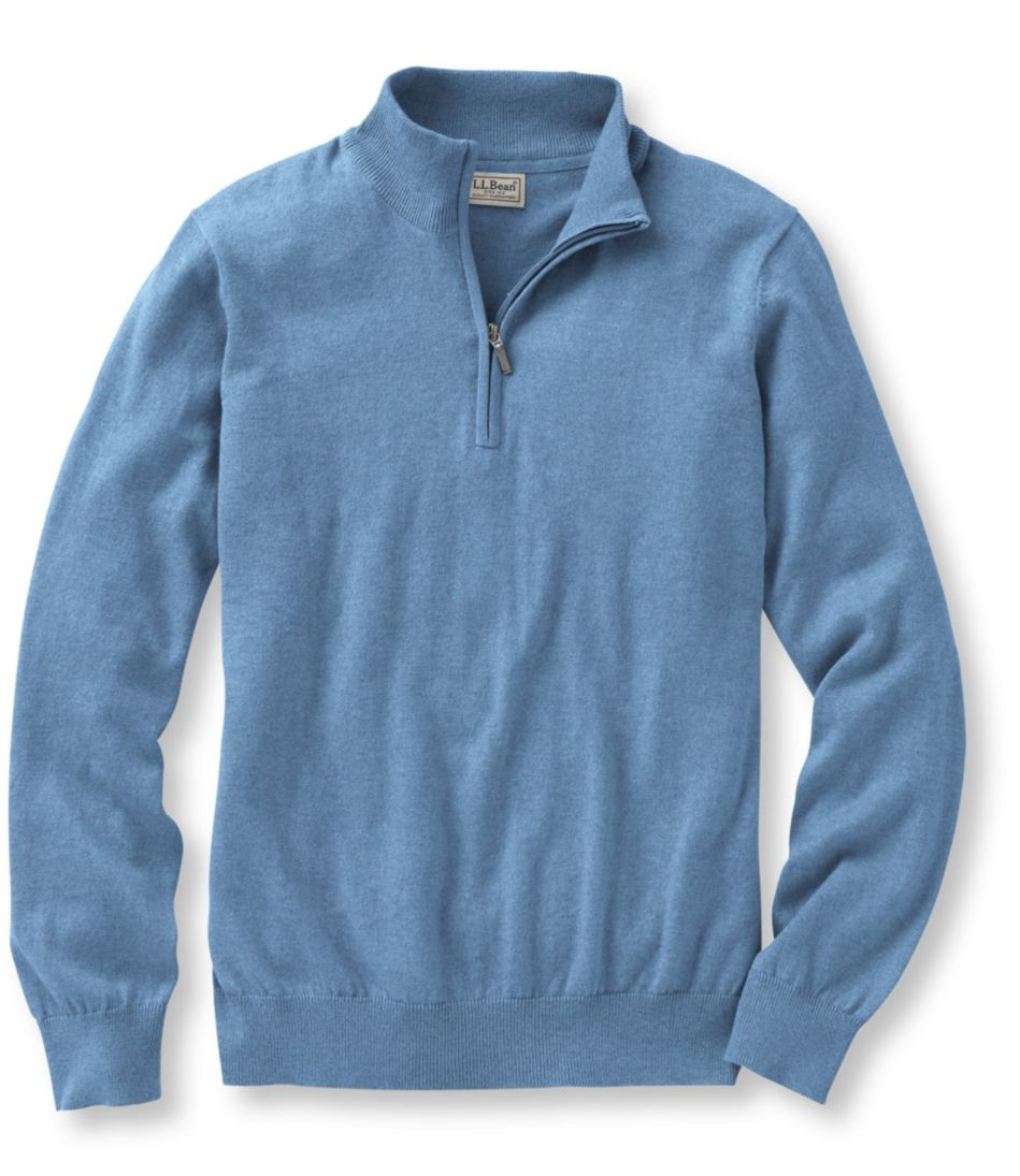 Cotton/Cashmere Sweater, Quarter-Zip