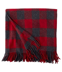 "L.L.Bean Washable Wool Throw, Plaid 54"" x 60"""