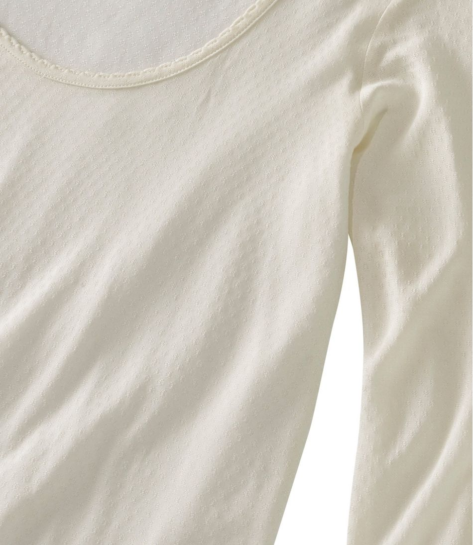 Silk Pointelle, Long-Sleeve Scoopneck