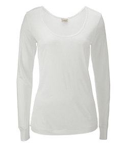 Women's Silk Pointelle, Long-Sleeve Scoopneck