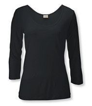 Silk Pointelle, Three-Quarter-Sleeve Low Scoopneck