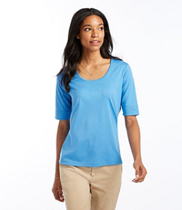 Women's Pima Cotton Tee, Elbow-Sleeve Scoopneck