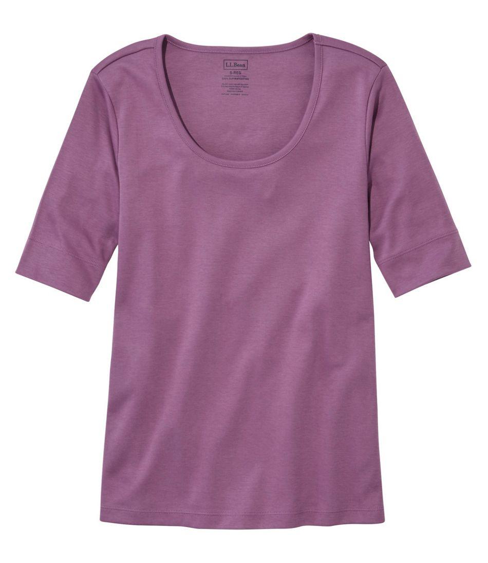 Women's Pima Cotton Tee, Elbow-Sleeve Scoopneck