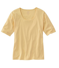 Pima Cotton Tee, Elbow-Sleeve Scoopneck